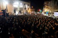 FILE PHOTO: Ultra Orthodox Jews protest against the government's coronavirus disease restrictions in Jerusalem