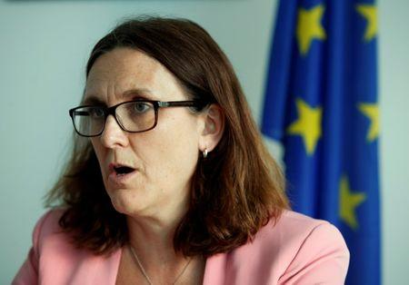 EU Trade Commissioner Malmstrom attends an interview with Reuters in Geneva