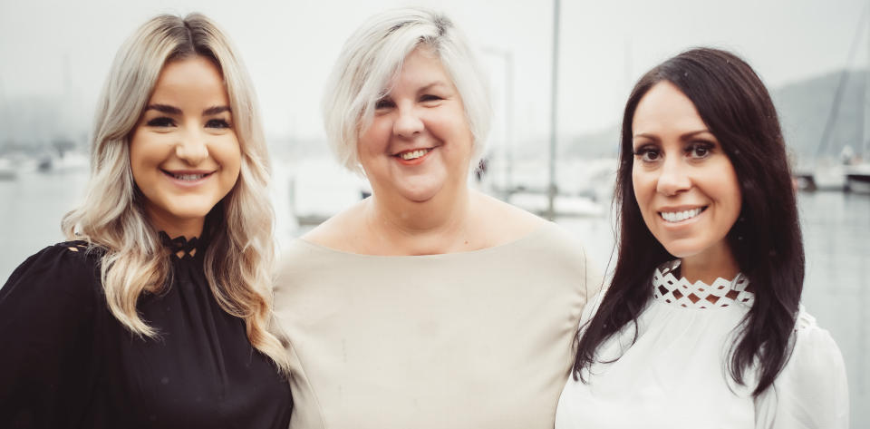 Cathy Baker with Cailtin Attard (left) and Linda Gibbens (right) from Belle Property. (Image: Supplied).