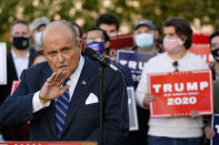 Rudy Giuliani, a lawyer for President Donald Trump, speaks during a news conference on legal challenges to vote counting in Pennsylvania, Wednesday, Nov. 4, 2020, in Philadelphia. (AP Photo/Matt Slocum)