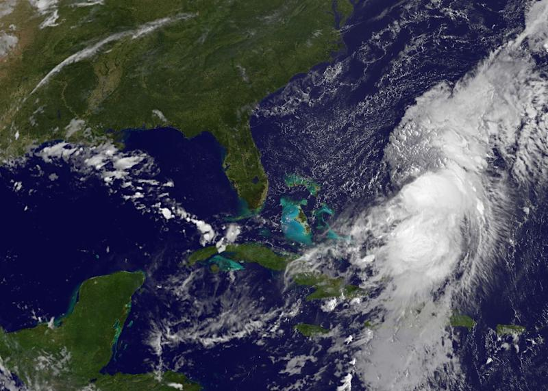 A satellite view of Hurricane Cristobal over the Bahamas on August 26, 2014
