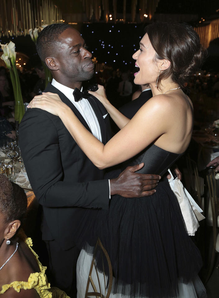 "<p>Sterling K. Brown became the first black actor to win for Outstanding Lead Actor in a Drama Series since 1998 — and celebrated at the Governors Ball at the Los Angeles Convention Center with his <em>This Is Us</em> family, including Mandy Moore. Although his speech was cut short, we did hear the bit where he called his co-stars Mandy, Milo Ventimiglia, Justin Hartley, and Chrissy Metz ""the best white TV family that a brother has ever had, better than the white folks who raised Webster."" (Photo: Alex Berliner/Invision for the Television Academy/AP Images) </p>"