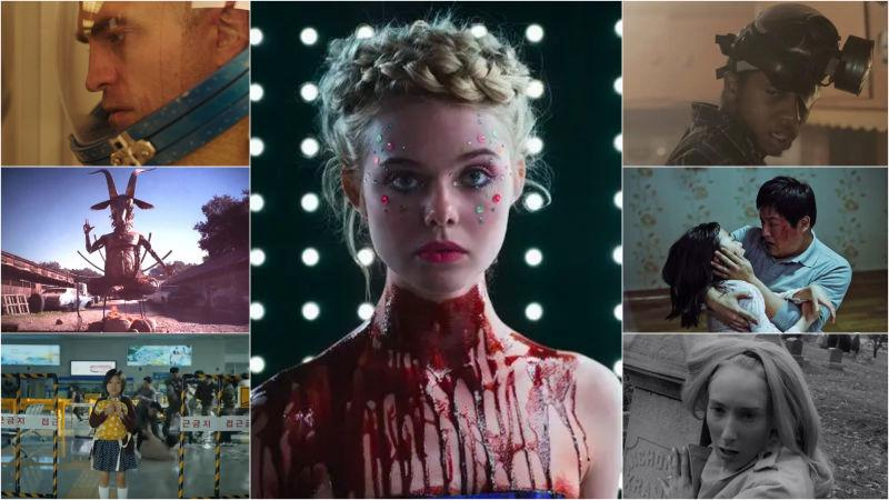 Clockwise from top left: High Life (A24); The Neon Demon (Broad  Green Pictures); The Alchemist's Cookbook (Oscilloscope); The Wailing  (Well GO USA Entertainment); Night Of The  Living Dead (Screenshot); Train To Busan (Screenshot); Antrum: The Deadliest Film Ever Made  (Screenshot)