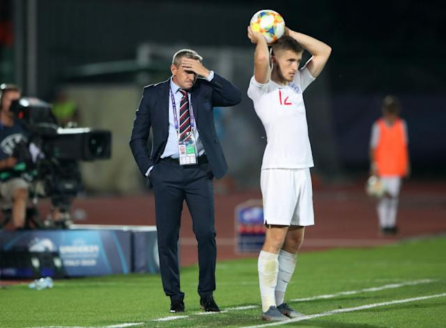 Despair: It was a tournament to forget for Aidy Boothroyd and his England players. (PA)