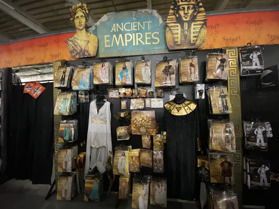 """The """"Ancient Empires"""" section in a spirit halloween store"""