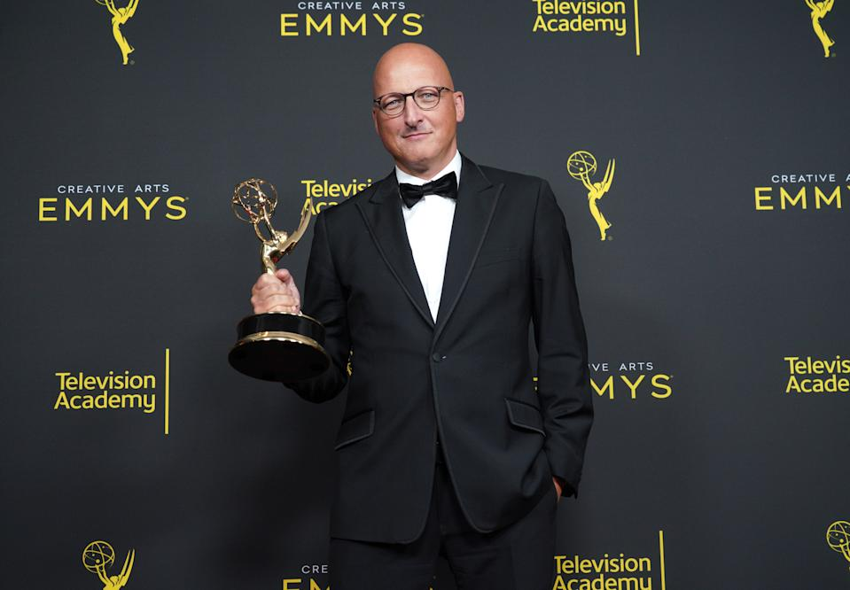 LOS ANGELES, CALIFORNIA - SEPTEMBER 14: Director Dan Reed poses in the press room with the award for outstanding documentary or nonfiction special for Leaving Neverland' during the 2019 Creative Arts Emmy Awards on September 14, 2019 in Los Angeles, California. (Photo by JC Olivera/WireImage)