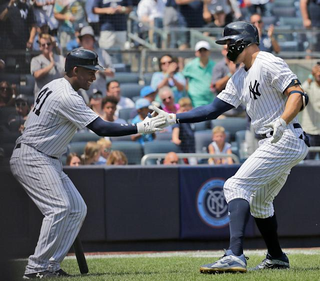 The Yankees lost both Giancarlo Stanton and Miguel Andujar on Monday. (AP)