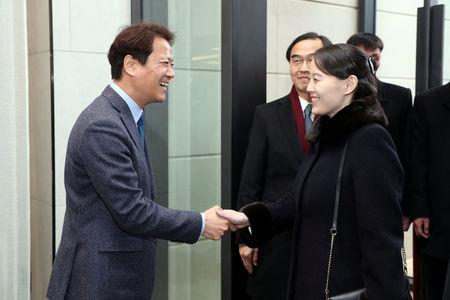 Im Jong-seok, the Chief Presidential Secretary for President of South Korea Moon Jae-in, greets Kim Yo Jong, the sister of North Korea's leader Kim Jong Un, during a banquet at a hotel in Seoul, South Korea, February 11, 2018.  The Presidential Blue House/Yonhap via REUTERS