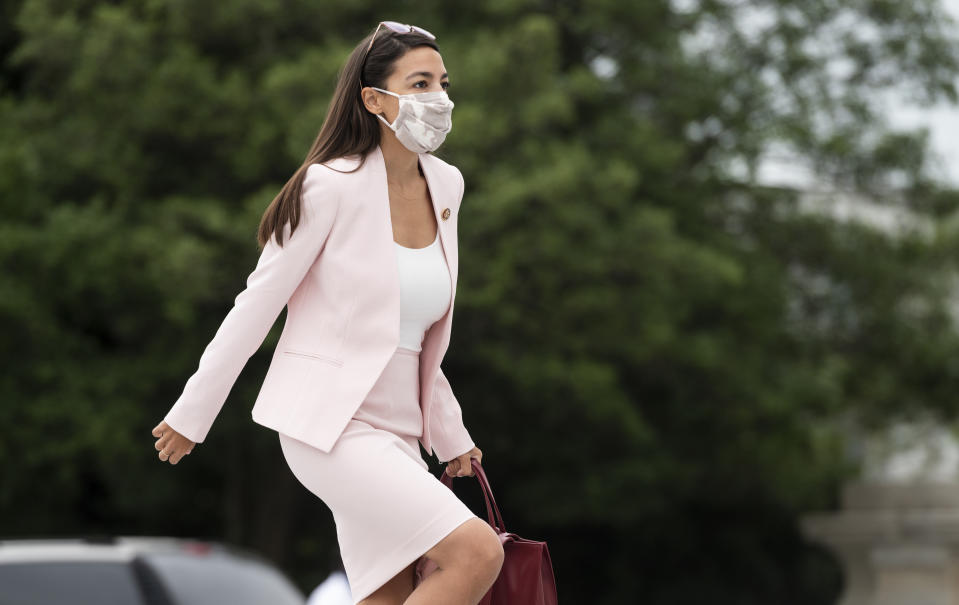 UNITED STATES - SEPTEMBER 17: Rep. Alexandria Ocasio-Cortez, D-N.Y., walks up the House steps for a vote in the Capitol on Thursday, Sept. 17, 2020. (Photo By Bill Clark/CQ-Roll Call, Inc via Getty Images)