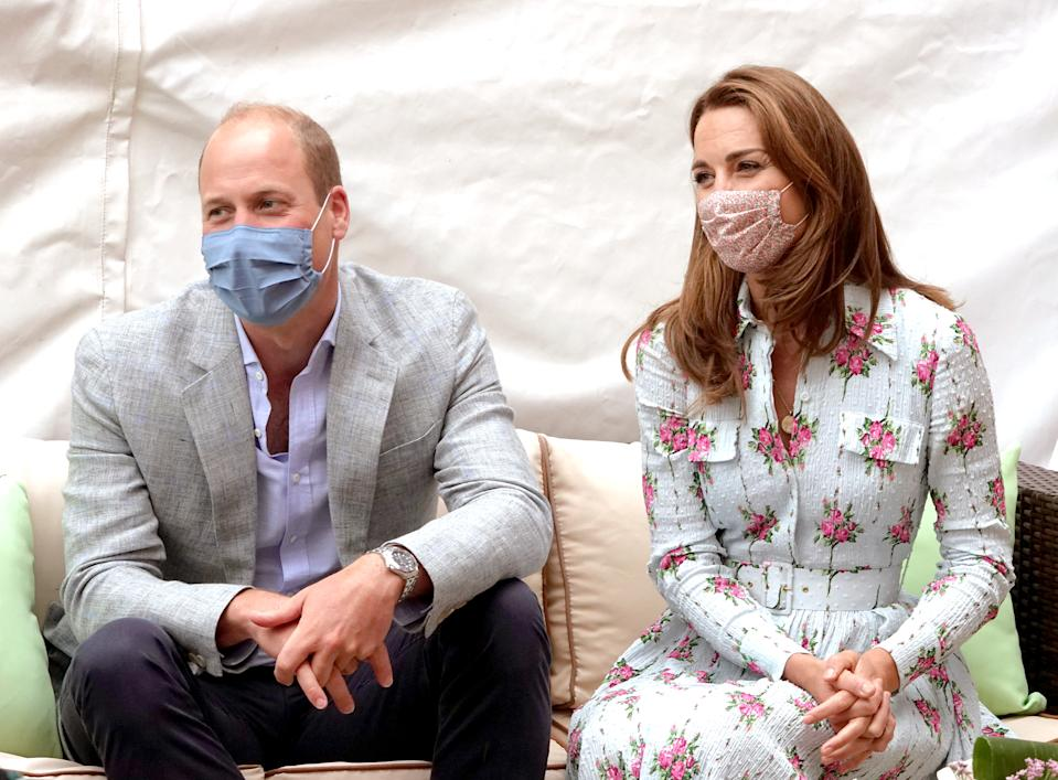 CARDIFF, WALES - AUGUST 05: Prince William, Duke of Cambridge and Catherine, Duchess of Cambridge meet residents at the Shire Hall Care Home, where they spoke to some of the home's staff, residents and their family members on August 5, 2020 in Cardiff, Wales. In May, The Duke and Duchess joined staff and residents from Shire Hall via video call, and took their turn as guest bingo callers for a game in the home's cinema. (Photo by Jonathan Buckmaster - WPA Pool/Getty Images)