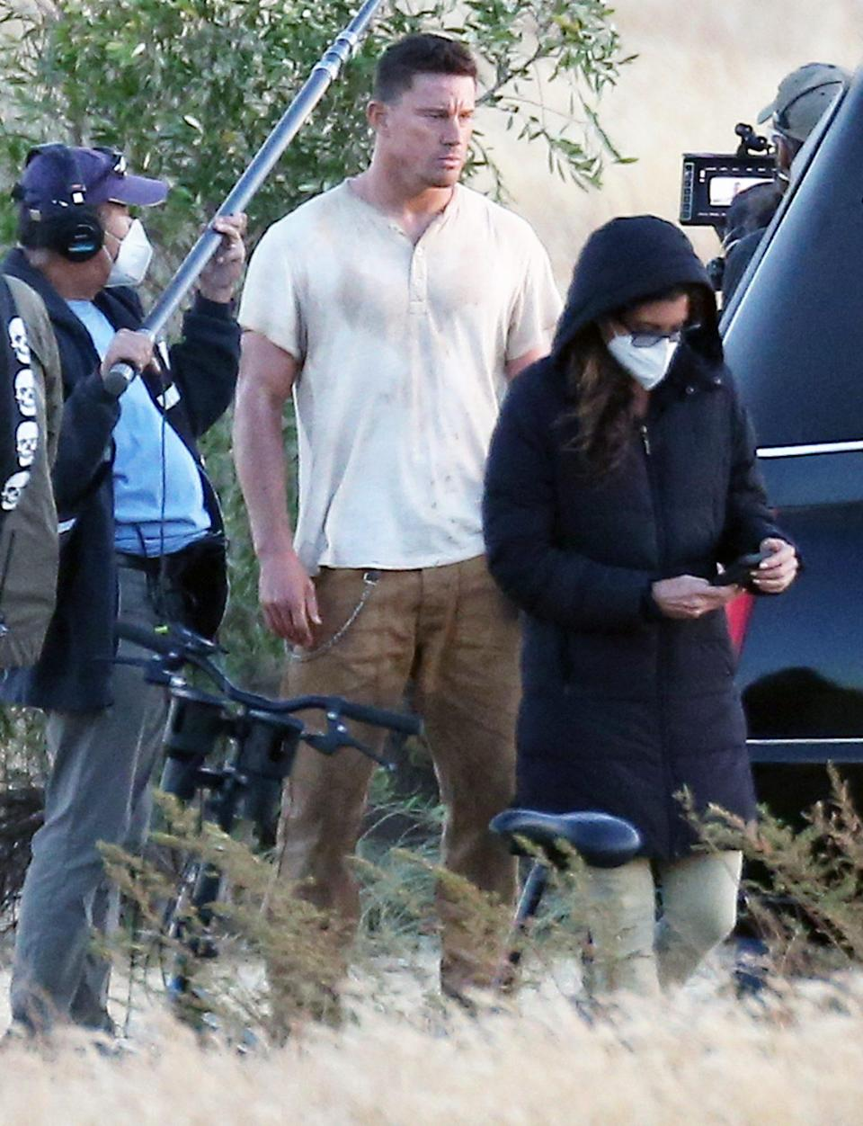 <p>Channing Tatum is spotted filming a scene for his directorial debut, <i>Dog</i>, on Friday in L.A. </p>