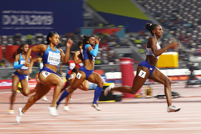Dina Asher-Smith leaves her rivals behind to claim the gold medal. (Photo by Michael Steele/Getty Images)