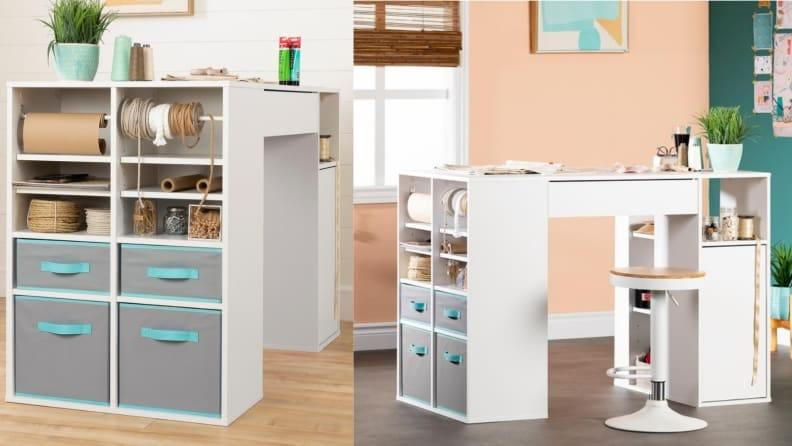This craft storage doubles as a workstation.