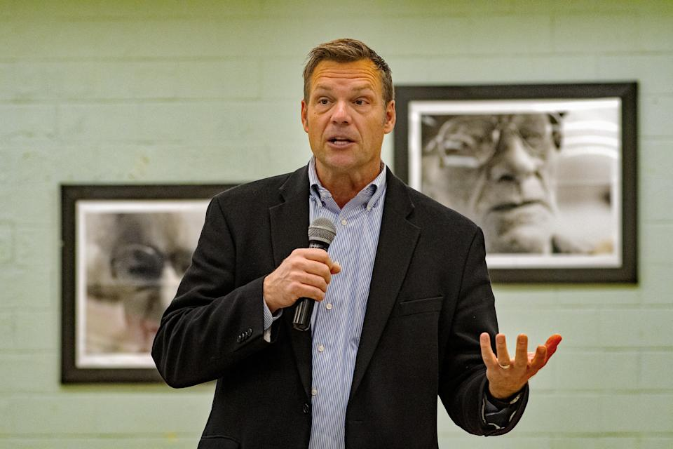 Republican gubernatorial candidate Kris Kobach meets with supporters at the Lyon County senior center and talks about the upcoming election, Emporia, Kansas, October 28, 2018. (Mark Reinstein/Corbis via Getty Images)