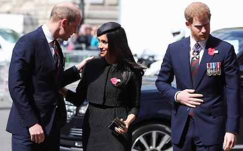 Prince William greets his brother Harry's fiancee Meghan Markle as they arrive for an ANZAC day service at Westminster Abbey - Credit: HANNAH MCKAY/REUTERS
