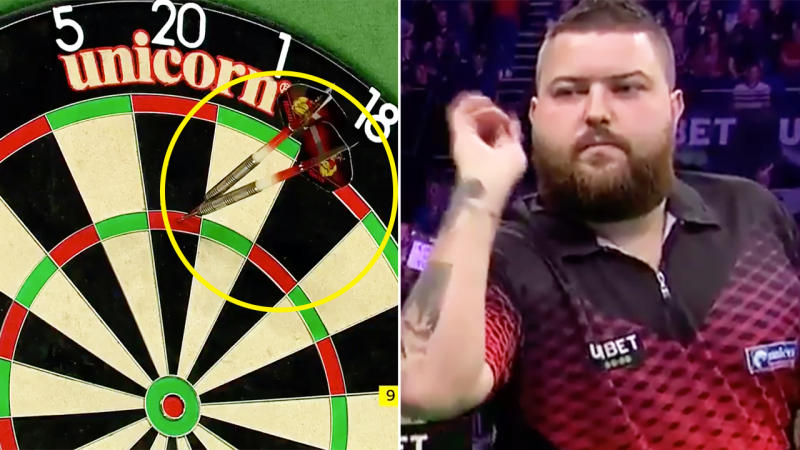 Michael Smith, pictured here nailing the first nine-darter in three years.