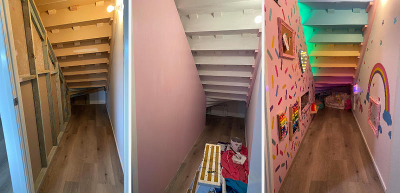 (l-r_ Stairs before transformation, stairs painted pink during DIY, Stairs transformed into playroom