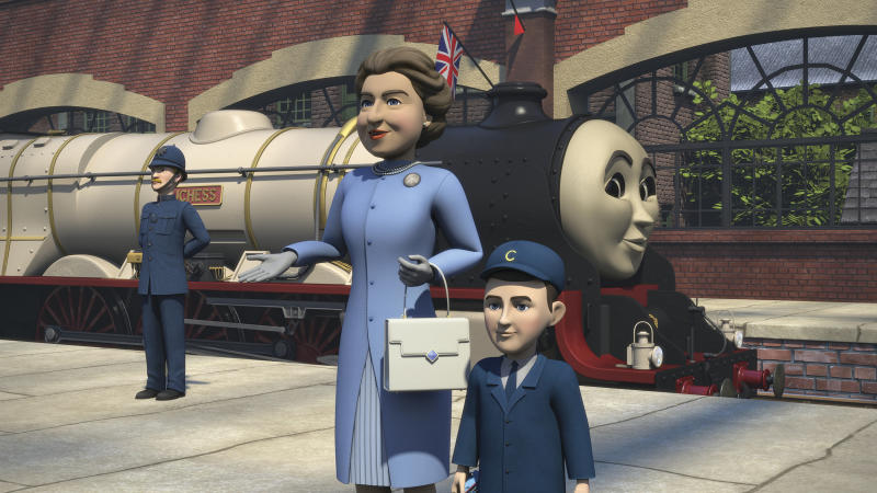 This photo shows a scene featuring Britain's Queen Elizabeth II and Prince Charles as a boy from an animated special