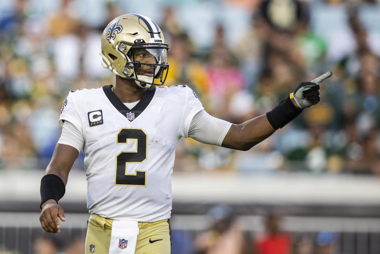 JACKSONVILLE, FLORIDA - SEPTEMBER 12: Jameis Winston #2 of the New Orleans Saints points during the fourth quarter of a game against the Green Bay Packers at TIAA Bank Field on September 12, 2021 in Jacksonville, Florida. (Photo by James Gilbert/Getty Images)