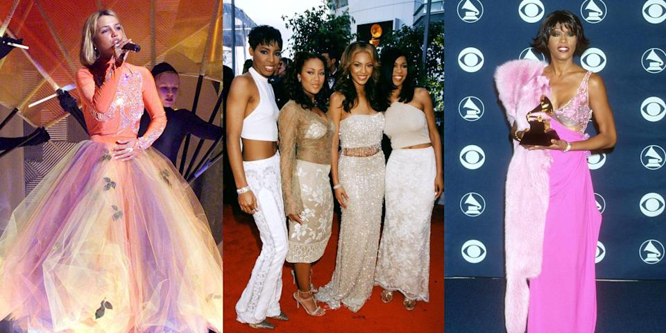 <p>Y2K was a simpler time—sorry, I mean sequinier time. Basically it was The Year of the Sparkle, at least at the 2000 Grammy Awards. Now that the year 2000 is about to be, ahem, over TWENTY years ago (*pause to think about how old you are*), we figured this would be a good time to revisit the wild lewks (fur vests, low-rise jeans, platforms—and that was just Tara Reid), couples you forgot about (you defs forgot that [REDACTED] and Kid Rock dated), and the random mop (yep, a mop) that ended up on the red carpet. Happy time-traveling!</p>