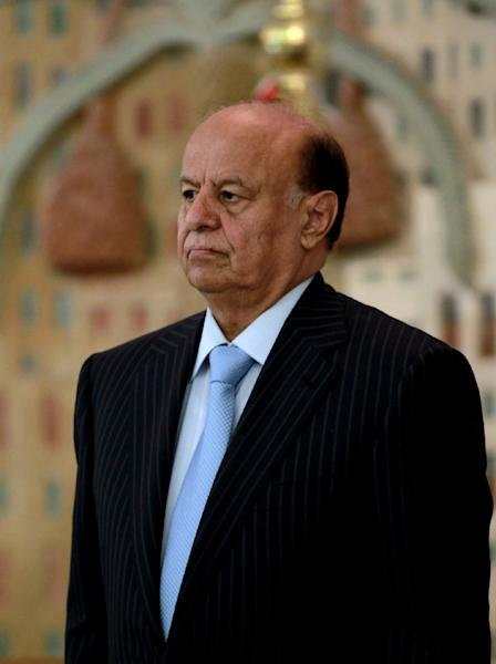 A picture taken on February 21, 2013 shows Yemeni President Abdrabuh Mansur Hadi at a ministry of interior conference in the capital Sanaa (AFP Photo/Mohammed Huwais)