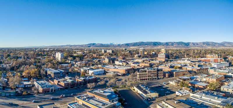 Aerial view of Fort Collins, Colorado.