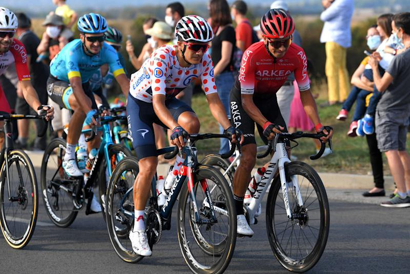 PARIS FRANCE SEPTEMBER 20 Richard Carapaz of Ecuador and Team INEOS Grenadiers Polka Dot Mountain Jersey Dayer Uberney Quintana Rojas of Colombia and Team Arkea Samsic during the 107th Tour de France 2020 Stage 21 a 122km stage from MantesLaJolie to Paris Champslyses TDF2020 LeTour on September 20 2020 in Paris France Photo by Tim de WaeleGetty Images