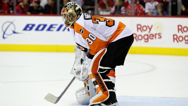 In a scary incident in Saturday's Flyers-Devils game, Philadelphia goalie Michal Neuvirth collapsed on the ice without any contact.