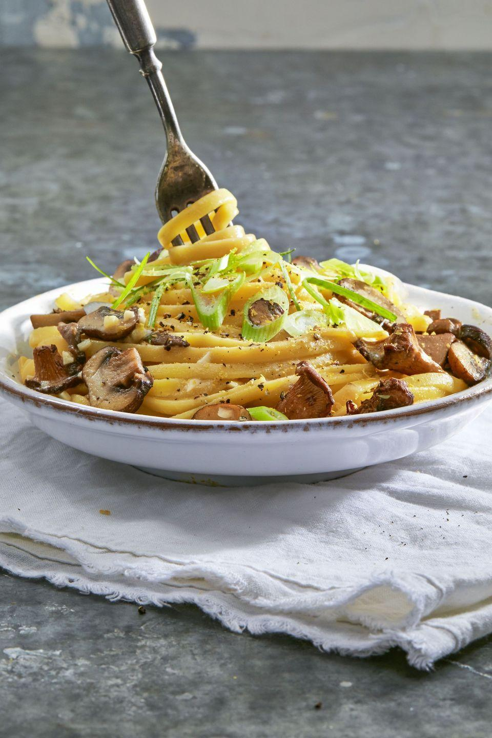 """<p>You can't go wrong with a classic pasta dish on Thanksgiving, especially one that's creamy and secretly vegan so everyone can enjoy!</p><p><a href=""""https://www.goodhousekeeping.com/food-recipes/easy/a36260/creamy-vegan-linguine-with-wild-mushrooms/"""" rel=""""nofollow noopener"""" target=""""_blank"""" data-ylk=""""slk:Get the recipe for Creamy Vegan Linguine with Wild Mushrooms »"""" class=""""link rapid-noclick-resp""""><em>Get the recipe for Creamy Vegan Linguine with Wild Mushrooms »</em></a></p><p><strong>RELATED: </strong><a href=""""https://www.goodhousekeeping.com/food-recipes/g5143/easy-vegan-pasta-recipes/"""" rel=""""nofollow noopener"""" target=""""_blank"""" data-ylk=""""slk:35 Easy Vegan Pasta Dishes to Make for Dinner Tonight"""" class=""""link rapid-noclick-resp"""">35 Easy Vegan Pasta Dishes to Make for Dinner Tonight</a><br></p>"""
