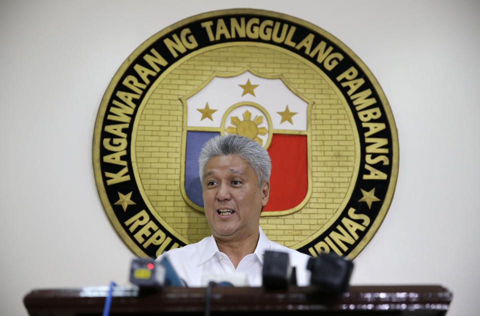 FILE PHOTO: Philippine Department of National Defense spokesman Arsenio Andolong talks to reporters in Quezon City, Philippines on Thursday, March 2, 2017. (AP Photo/Aaron Favila)
