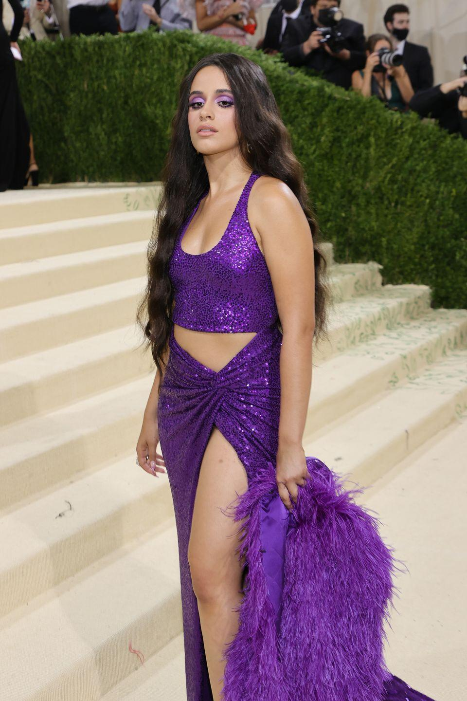 <p>Camila Cabello was doused in purple on the carpet, from her glittery purple dress to the two-toned purple shadow look that gave her fresh-faced mug an instant pop. </p>