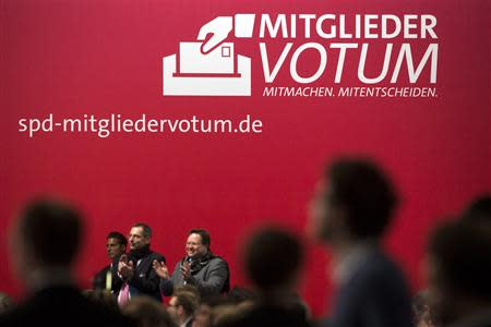 Delegates debate during a break in SPD party congress in Leipzig