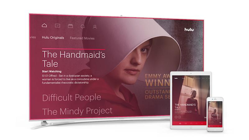 Hulu's The Handmaid's Tale displayed on a television, tablet, and smartphone.