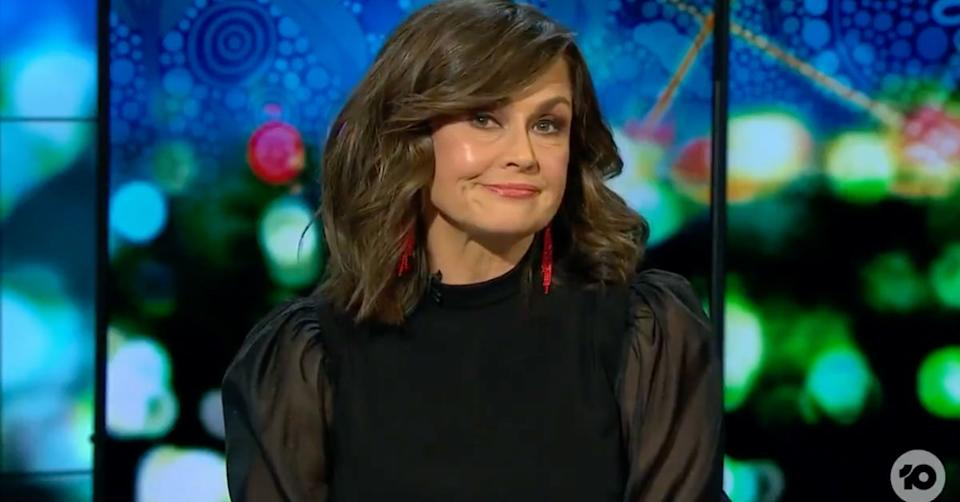 Lisa Wilkinson wearing a black top and red earrings on The Project on July 8, 2021