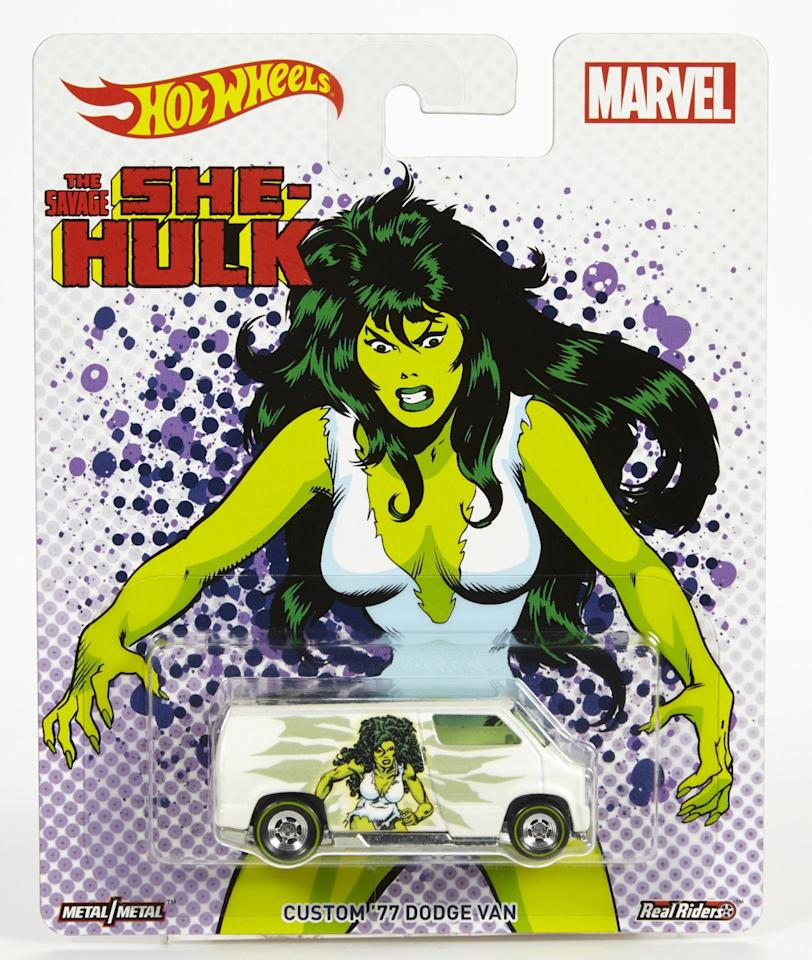 <p>The gamma-powered heroine is featured on a custom '77 Dodge van. Available in April; $4.99. (Mattel) </p>