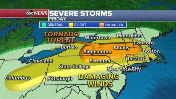 PHOTO: On the day that parts of the Northeast start reopening, there will be a shot at damaging winds (in excess of 60 mph) and even tornadoes. (ABC News)