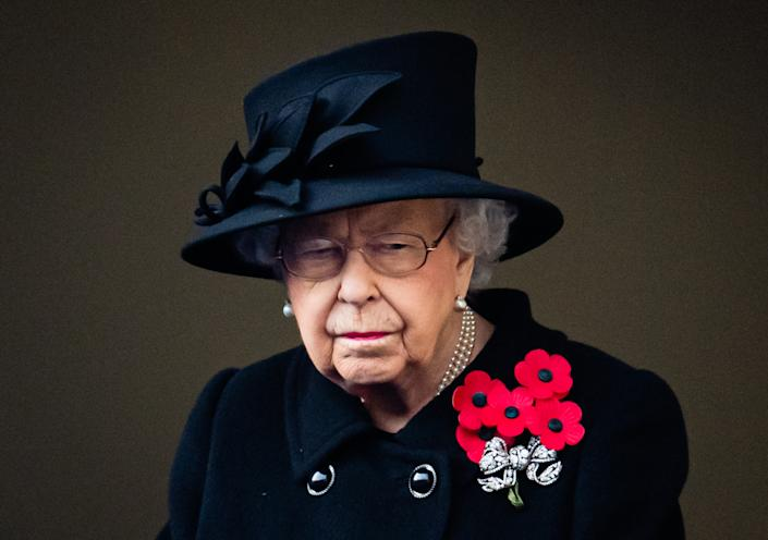 LONDON, ENGLAND - NOVEMBER 08: Queen Elizabeth II attends the National Service of Remembrance at The Cenotaph on November 08, 2020 in London, England. (Photo by Pool/Samir Hussein/WireImage)