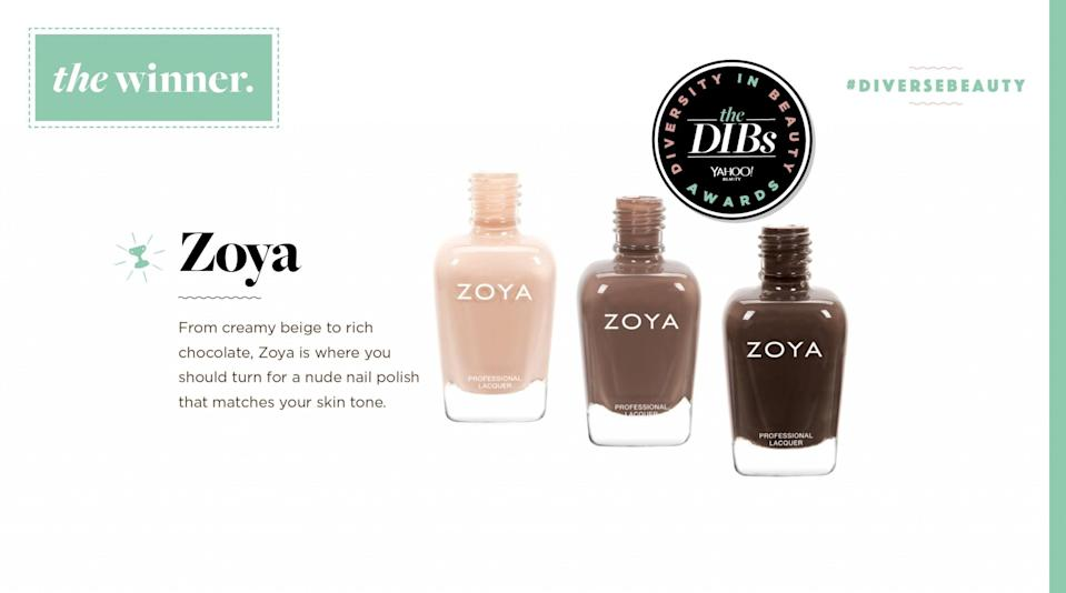 <p>From creamy beige to rich chocolate, Zoya is where you should turn for a nude nail polish that matches your skin tone. </p>