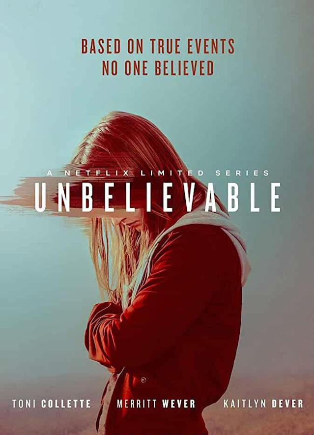 "Nominated for four Golden Globe Awards, this limited series follows a young woman who is accused of lying about a rape, with a parallel plot of two female detectives trying to solve similar attack on other women. With eight 45-minute episodes, this show is worth a binge over a weekend. You can watch it on <a href=""https://www.netflix.com/search?q=unbeliev&jbv=80153467&jbp=0&jbr=0"" rel=""nofollow noopener"" target=""_blank"" data-ylk=""slk:Netflix"" class=""link rapid-noclick-resp"">Netflix</a>."