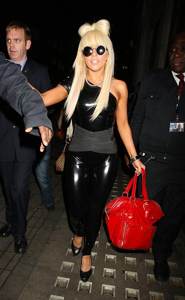 "Lady GaGa retained her spot on the U.S. pop charts, scoring a second week at top spot with her single ""Just Dance."" The 22-year-old turned Londoners' heads in this eye-catching catsuit and hair bow on Friday. Gotcha Images/<a href=""http://www.splashnewsonline.com"" target=""new"">Splash News</a> - January 16, 2009"