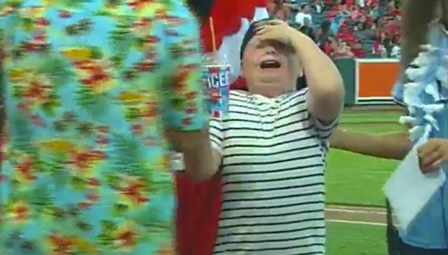 This kid at the Memphis Redbirds game won the Icee-chugging contest, but wasn't able to prevent the dreaded brain freeze. (Twitter/@memphisredbirds)
