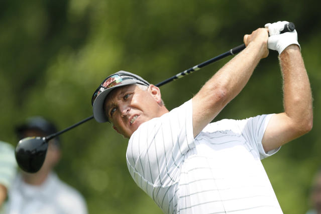 Scott Parel hits off the third tee during the second round of the PGA Tour Champions Principal Charity Classic golf tournament, Saturday, June 1, 2019, in Des Moines, Iowa. (AP Photo/Charlie Neibergall)