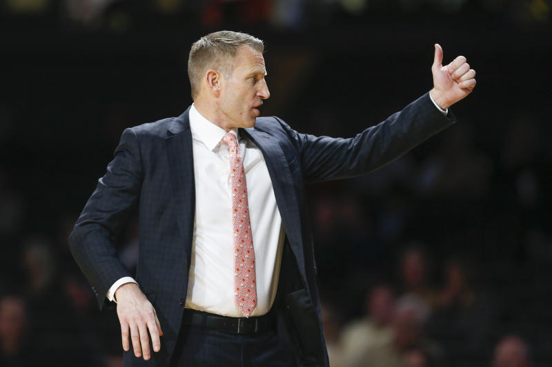 Alabama head coach Nate Oats directs his players in the second half of an NCAA college basketball game against Vanderbilt Wednesday, Jan. 22, 2020, in Nashville, Tenn. Alabama won 77-62. (AP Photo/Mark Humphrey)