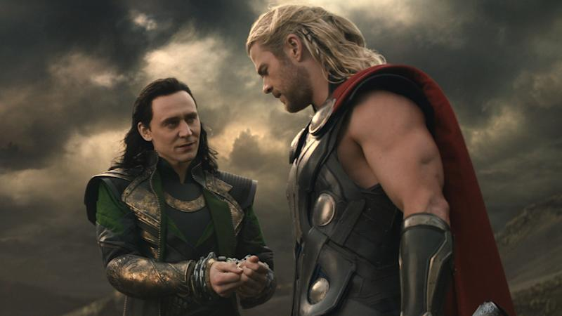 Tom Hiddleston and Chris Hemsworth in 'Thor: The Dark World'