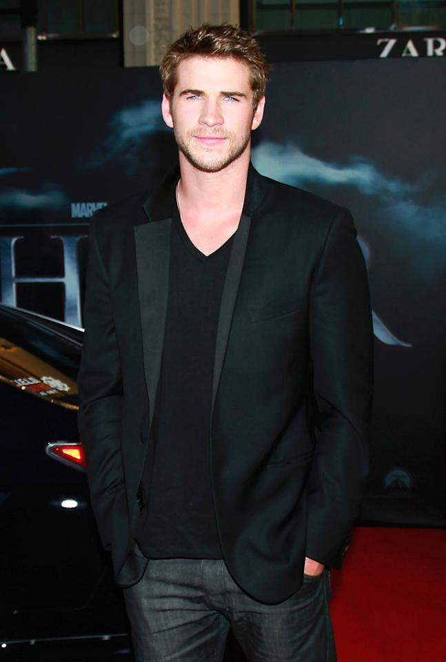 """<a href=""""http://movies.yahoo.com/movie/contributor/1810126236"""">Liam Hemsworth</a> attends the Los Angeles premiere of <a href=""""http://movies.yahoo.com/movie/1810026342/info"""">Thor</a> on May 2, 2011."""