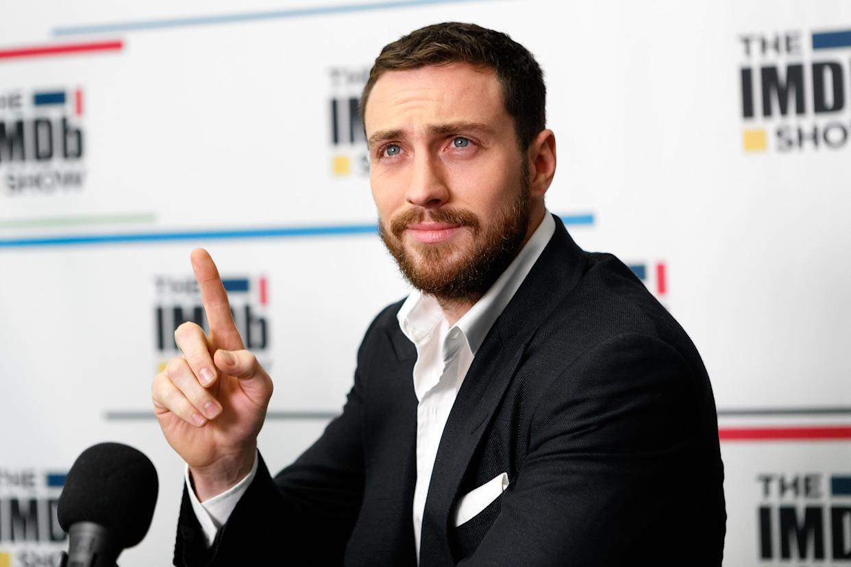 Aaron Taylor-Johnson visits 'The IMDb Show' on Twitch on December 4, 2019. (Photo by Rich Polk/Getty Images for IMDb)