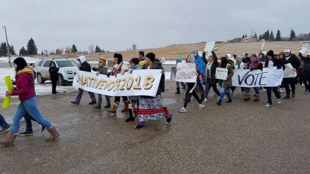 PHOTO: Native American youth from the Turtle Mountain band of the Chippewa marched from Belcourt High School to the Knights of Columbus polling place on the reservation near Belcourt, N.D., Nov. 6, 2018. (Janice McDonald/ABC News)