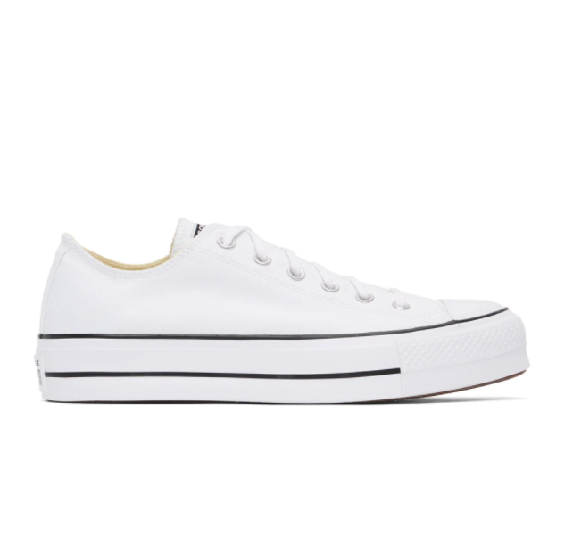 White Leather Chuck Taylor All Star Lift Low Sneakers. Image via SSENSE.