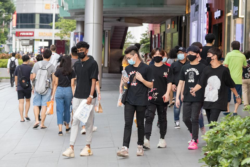 People seen along Orchard Road on 19 June 2020, the first day of Phase 2 of Singapore's re-opening. (Yahoo News Singapore file photo)