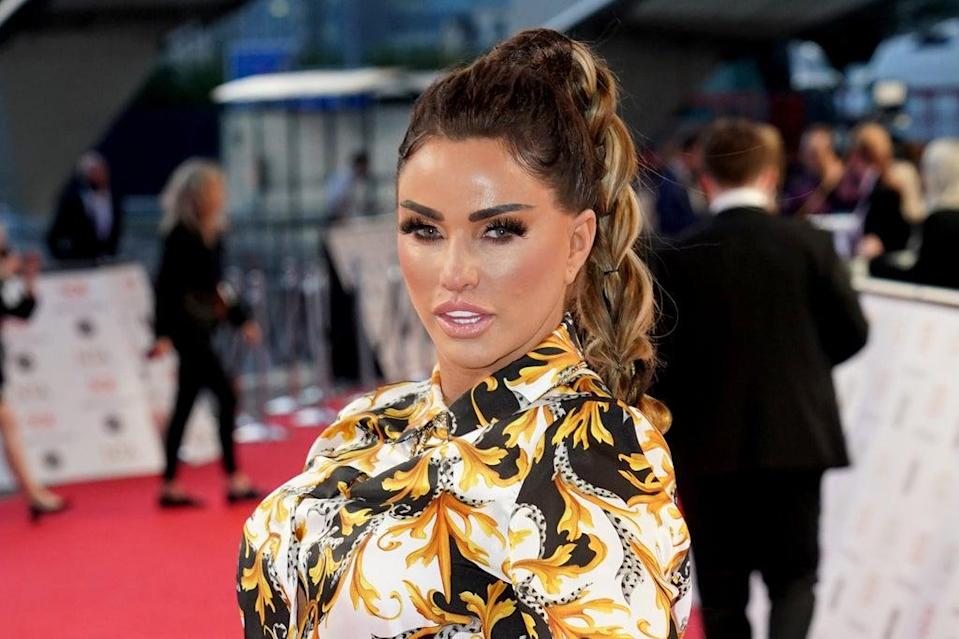 Katie Price at the National Television Awards 2021 held at the O2 Arena in London (PA)
